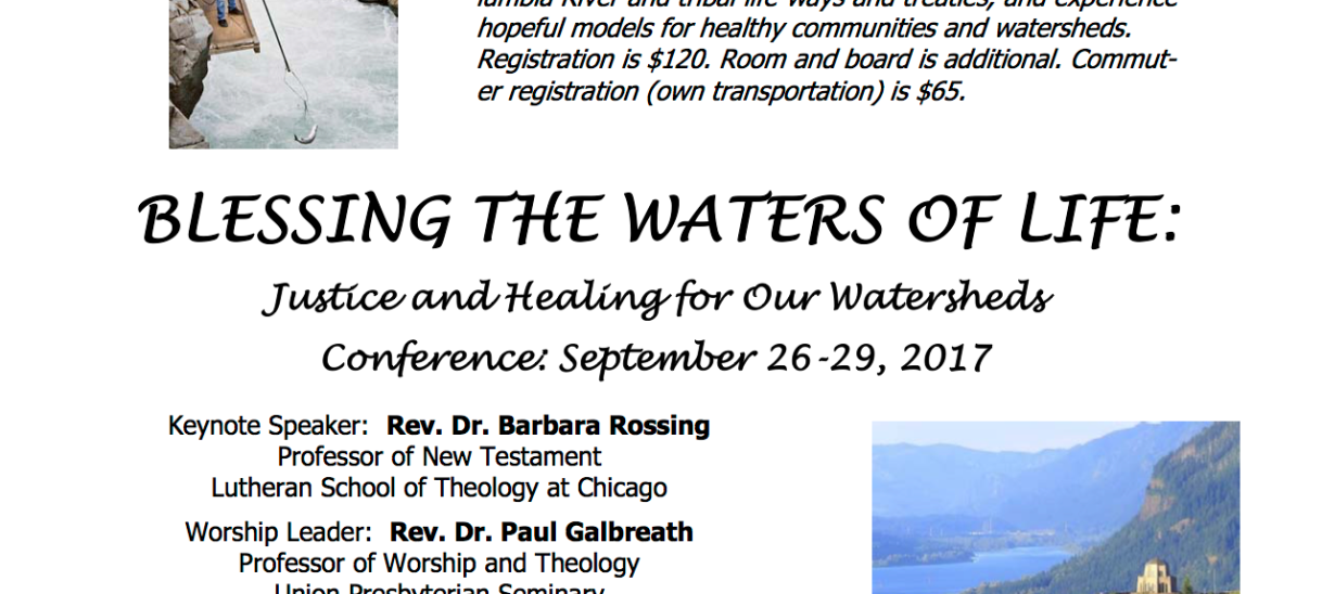 """Blessing the Waters of Life"" conference set for Oregon, September 24-29, 2017"